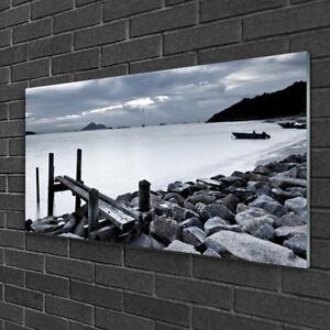 Tulup Tableau sur verre acrylique Image Impression 100x50 Pierres De Plage Sur L