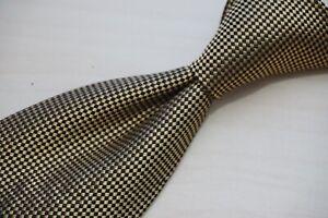 Charvet Gold Black LUXURY Checkered Silk Tie Made in France
