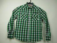 Mens Petrol Industries Large Green Plaid Long Sleeve Pearl Snap Western Shirt