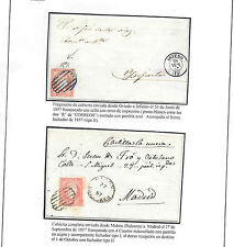 España. 2 cartas con sellos de 4 cuartos IsabelII. Edifil nº 48