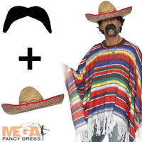Mexican Poncho + Sombrereo Hat Fancy Dress Stag Party Mens Adult Costume Outfit