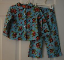 Toddler Girls Nickelodeon Dora the Explorer Flannel Apple Pajamas PJ's Size 3T
