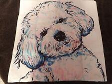 Dog Puppy Animal Retro Art Throw Cushion Pillow Cover 45cm BISHON FRISE