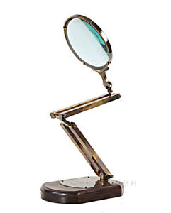 Large Hands Free Magnifier Magnifying Glass w/ Brass & Wood Stand Reading Device