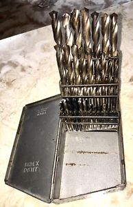 "Vintage Full Huot HSS Drill Index Metal Box 1/16"" to 1/2"" by 1/64"" 29 Bits St. P"