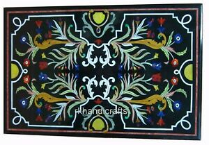 36 x 60 Inches Marble Garden Table with Marquetry Art Dining Table Floral Work
