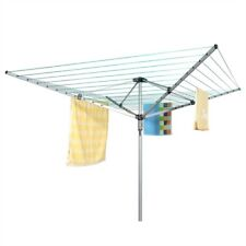 4 Arm 60M Rotary Airer Clothes Dryer Drying Washing Line Ground Socket Outdoor