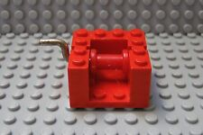 LEGO Red String Reel Winch 4 x 4 x 2, with Metal Handle Red Drum 580 377 360 364