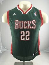 Vintage Milwaukee Bucks #22 REDD Jersey Youth L Adidas NBA Basketball Green