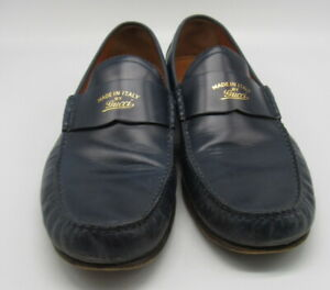 Gucci Men's Blue Leather Loafers sz 10