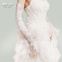 A Pair Lace Appliques Fingerless Long Wedding Bridal Gloves Bride Hand Accessory