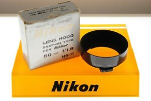 Nikon HS-11 metal lens hood. EXC++ boxed cond. For 50mm 1.8 lenses.