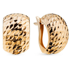 """Earrings Rose Gold 14K Russian fine jewelry no stone 585 2g NEW with tag 0.59"""""""