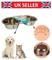Dog Bowl Double Diner Cat Pet Metal Rabbit Feeder Food Water Dish Small Large UK