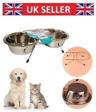Dog Bowl Double Diner Cat Pet Metal Rabbit Feeder Food Water Dish Small Large UK