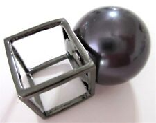 """Oversized  2"""" Inch Creamy Black Pearl Architectural Runway Ring Size 8!"""