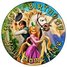 """Entremêlé Rapunzel Party - 7.5"""" Personnalisé Rond Comestible Glaçage Cake Topper (2)"""