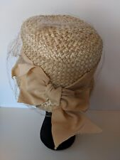 Ladies Vintage Hat Off White Straw Texture With Grosgrain Ribbon Bow Netting