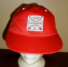 Child's Vtg 1970s Red Junior Leaguer Baseball Hat Flat Brim Ball Cap Sz L Nos
