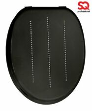 Black Diamonds Stylish Wooden New MDF Premium Toilet Seat With Chrome Hinges