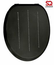 Diamanti Neri Elegante Nuovo IN LEGNO MDF Sedile WC Premium con cerniere cromate