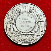 #5276 - Médaille poinçon en Argent L'Avenir Société de Tir 1901 PARIS - FACTURE