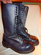 DR MARTENS TALL 20 EYE LEATHER LACE UP BOOTS BLACK SIZE US MEN 8 / 10 WOMAN