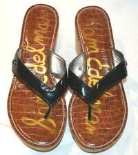 "Black Leather Sam Edelman Flip Flop Sandals ""ROMY"" 8.5M"