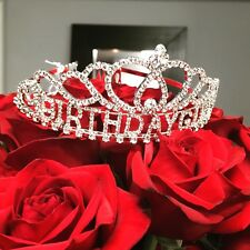 New Birthday Girl Happy Birthday Crystal Rhinestone Tiara Hair Comb Crown 5 inch
