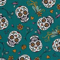 Calaveras Mexican Sugar Skulls - Petrol - Cotton Fabric Day of the Dead