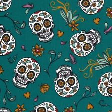 Calaveras Mexican Sugar Skulls - Petrol - Cotton Fabric Day of the Dead