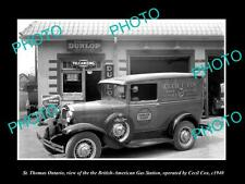 OLD LARGE HISTORIC PHOTO OF St THOMAS ONTARIO, BA OIL Co GAS STATION CAR 1940