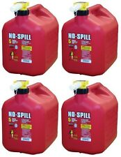 Lot of 4 No-Spill 1450 5-Gallon Poly Gas Can (CARB Compliant) RED 5 Gal