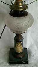 Victorian Oil Kerosene Lamp Glass Frosted 1800s Portrait Whale Electrified