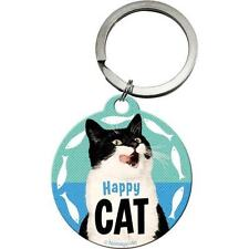 Happy gato meow CARA DIVERTIDO Sonrisa Mascotas Gatitos Fish REGALO LLAVERO