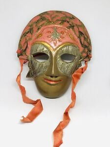 Vintage Solid Brass Floral Face Mask Wall Hanging Art Made in India