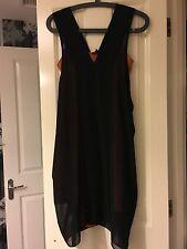 Asos size 6 chiffon double layers dress burnt orange & black brand new with tag