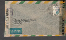 Brazil 1944 WWII multiple censors cover H C de Roth Rio to Kansas City MO