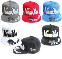 Mens Ladies Snapback Baseball Cap New York State Plain Retro Hip Hop Adults Hat