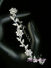 SALE Bridesmaid Crystal Flowers Silver Plated Bracelet / Bridal / Prom Xmas b187