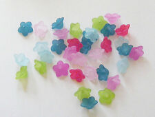 50 Acrylic Frosted  Flower  Beads - 13mm - Mixed Colours