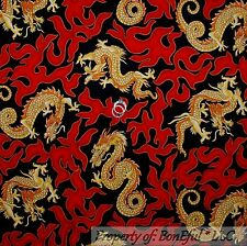 BonEful Fabric FQ Cotton Quilt VTG Black Red Gold DRAGON Fire Flame Chinese RARE