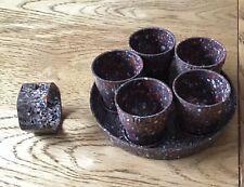 Vintage Speckled Bakelite Eggcups On Tray X 5