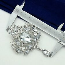 BIG 3,9'' VINTAGE STYLE RUNWAY CLEAR STONES BROOCH MADE WITH SWAROVSKI CRYSTALS