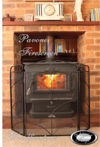 Decorative Ornate Black Fire Screen Firescreen Fireside Fireplace Spark Guard PA