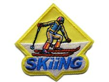 Downhill Skiing Embroidered Iron On Yellow Badge Patch 2.25 Inches