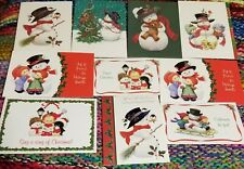 10 Assorted Ruth Morehead Christmas Greeting Cards with Cute SNOWMAN Lot B
