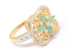 Smaragd  Ring  Diamant   925 Sterling Silber Vergoldet  Ø 17,2 mm