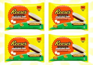 4 Reese's Peanut Butter Cups Mallow-Top Marshmallow Creme Chocolate 7.8 OZ