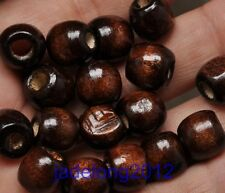 30pcs coffee Big Hole Wood Spacer Beads Accessories 11x12mm